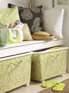 DIY Decorative Storage Bins  Turn plain plastic bins into wheeled containers by lea