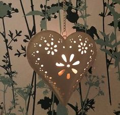 Florence Hanging Heart Tealight Candle Holder - whatsnew