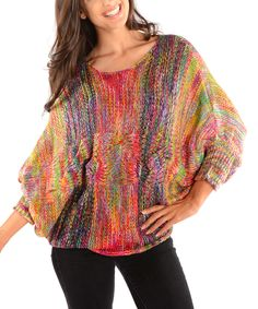 Red & Yellow Stripe Cable-Knit Dolman Sweater - Women