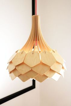 Design lamps made of wood. Making wooden lamps with a CNC router by using birch veneers. Watch the process of making a DIY wooden lamp. Deco Luminaire, Luminaire Design, Laser Cut Lamps, Wooden Lamp, Unique Lamps, Wood Design, Lighting Design, Lighting Ideas, Pendant Lighting