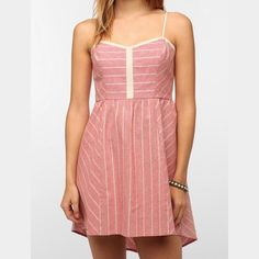 Urban Oufitters Striped Sundress Urban Outfitters COPE pink sundress. Worn only once, perfect condition! (Linen & cotton) Urban Outfitters Dresses Mini