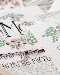 Jennifer + Charles's Floral and Woodgrain Wedding Invitations