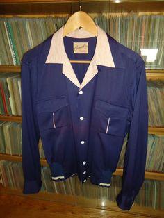 "Vintage 1950's ""Campus"" 2 Tone Gab Gaucho Rockabilly Shirt M Gabardine Jacket | eBay"