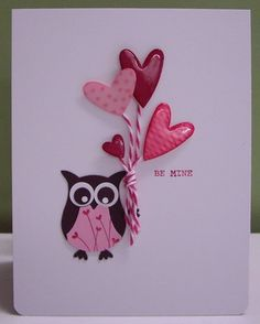SU! Valentine card using Owl builder punch; Crystal Effects added to heart punches - Loll Thompson