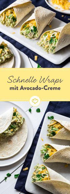 Wraps sind zu jeder Tageszeit eine gute Idee! Besonders, wenn sie schnell gemacht sind und Hähnchen und Avocado beinhalten.