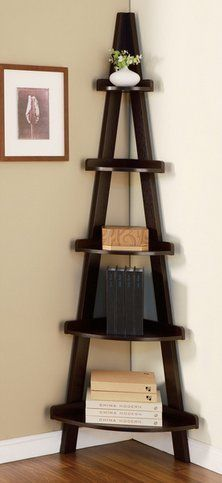 furniture of america 72inch amber corner wall 5tier cappuccino display stand shelving