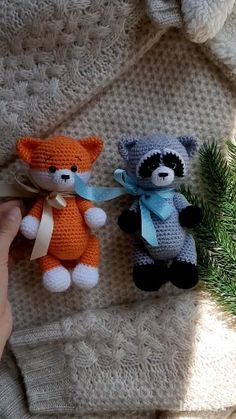 Adorable forest animals: fox and raccoon - Вязаные игрушки - Amigurumi , Crochet , Knitting Crochet Motifs, Crochet Patterns Amigurumi, Crochet Dolls, Free Crochet, Knitting Patterns, Kids Crochet, Crochet Hats, Amigurumi Animals, Crochet Animals