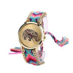 Tongshi 1 PC Mujeres de la Manera del Regalo del Modelo Elefante Cuerda Teje Band Pulsera de Cuarzo Esfera de un Reloj (Azaul+Rose)