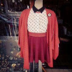 #minkpink #flocked #polkadot #blouse $49, #minkpink #ponte #skater #skirt #burgandy $39, #vintage #silk #komono #handcrafted #jacket $80, and #findingfrida #butterfly #print on #acrylic and #canvas #brooch $29