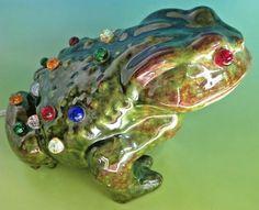 Vintage 1960s Frog Toad Ceramic Lamp Night Light Glass Marbles Handmade Retro