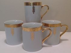 4 Tiffany & Co. Frank Lloyd Wright Design Imperial Mugs Cup Gold Signed Coffee #Imperial