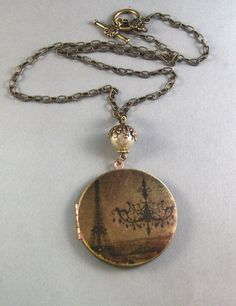 LolaVintage Brass Locket Necklace Art Locket by valleygirldesigns, $29.00