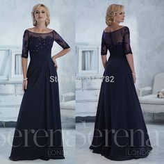 Cheap Evening Dresses, Buy Directly from China Suppliers:Mother Of The Bride Dresses With Half Sleeves Navy Blue Lace Appliques Beaded Chiffon Long Evening Dress Robe De Soiree