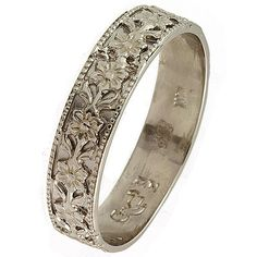18K White Gold Art Nouveau Vintage Style Floral Wedding Ring on Etsy