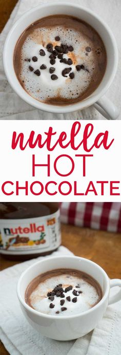 This Nutella Hot Chocolate recipe is very easy and can be ready in ten minutes. Using on three ingredients its the perfect winter treat! Drink Recipes Nonalcoholic, Easy Drink Recipes, Fruit Smoothie Recipes, Tea Recipes, Coffee Recipes, Yummy Drinks, Smoothies, Nutella Drink, Nutella Hot Chocolate