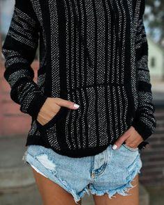 Magdalene Pocketed Pullover - Black