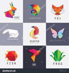 Abstract Colorful Vibrant Animal Logos Design Set Collection. Rabbit, Chameleon, Red Fox, Polar Bear, Parrot, Butterfly, Fish, Bird And Frog Designs Stock Vector Illustration 291721259 : Shutterstock