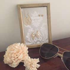 Earring Display/Holder Gold & Lace by MerakiBottegaCo on Etsy