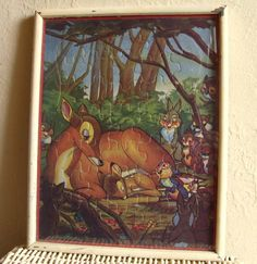 Chippy Vintage Picture Frame with Bambi Puzzle Framed with Glass