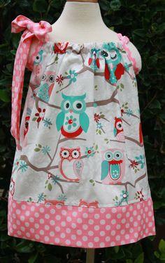 Spring Owl Pillowcase Dress.  Size 012 mths by hotwheelsfairytales, $16.00