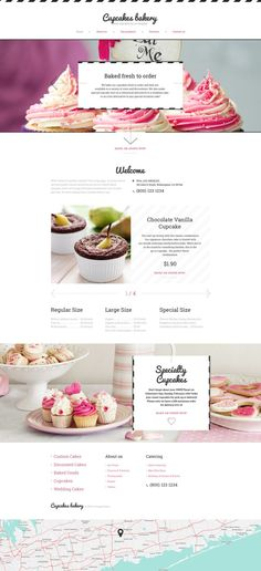 Grab this responsive Cake Shop Website Template with a delicious look, apply it to your website, and enjoy watching your sales grow day by day. Bakery Website, Restaurant Website Design, Food Website, Website Ideas, Website Layout, Template Web, Website Template, Cake Websites, Pag Web