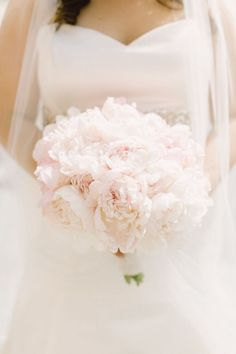 Pale pink peonies wedding bouquet
