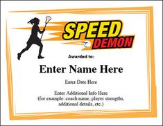 Lacrosse certificates templates lacrosse lacrosse quotes and team mom speed demon lax award many different styles of lacrosse certificate templates hand out a yelopaper Gallery