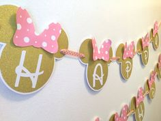 Minnie Mouse Gold Minnie Mouse Gold and Pink by DynamicDesParties