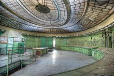 The control room of the abandoned transformer house at Kelenföld Power Plant.