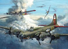 FlyingFortress over Germany Ww2 Aircraft, Military Aircraft, Aircraft Painting, War Thunder, Airplane Art, Aviation Art, Aviation Tattoo, P51 Mustang, Ww2 Planes