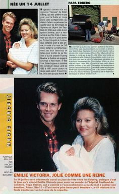 A collage from Tennis Magazine and Tennis de France with news on the birth of Emilie Victoria, Stefan Edberg's and Annette Olsen's daughter, on July 14th, 1993 and the early months of fatherhood for Stefan.