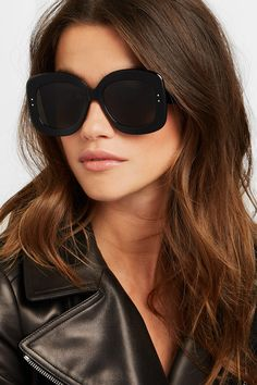 Alaïa | Square-frame acetate sunglasses | NET-A-PORTER.COM Big Sunglasses, Oversized Sunglasses, Sunglasses Women, Sunnies, Brown Hair Green Eyes, Just Girl Things, Alaia, Black Square, Outfits