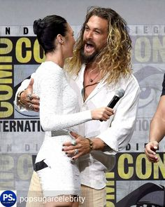 WonderWoman and #Aquaman greet each other at #ComicCon2017.