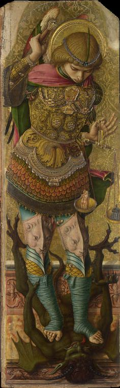 Michael the Archangel by Carlo Crivelli, c. 1476 - from a four panelled Altarpiece, Ascoli Piceno. On view in The National Gallery, London, room Catholic Art, Catholic Saints, Vanitas, Religious Icons, Religious Art, Religious Images, National Gallery, Saint Michel, Angels Among Us