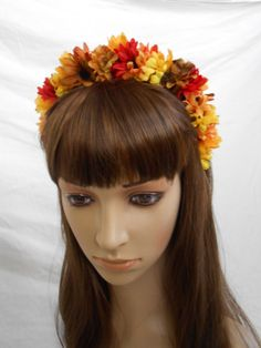 Fall Flower Crown Hair or Head Wreath Floral Crown by FlowerFair, $20.95