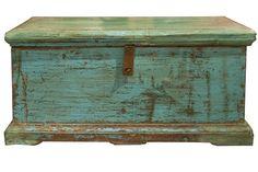 Vintage Blue Indian Trunk