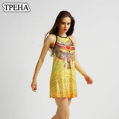 Find More Dresses Information about Blasting Summer European Ancient Egyptian Print Women Dress Yellow Sexy Halter Causal Loose Hollow out Strap Sleeveless Dress ,High Quality sleeveless jacket,China sleeveless shift dress Suppliers, Cheap sleeveless romper from Riel Technology Co.,LTD on Aliexpress.com