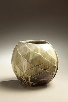 Nishihata Tadashi; Wide mouthed spherical Tanba vessel with diamond-shaped carved surface patterning and ladle-poured ash glaze, ca. 2010  Wood-fired stoneware with ash glaze  10 1/4 x 12 1/4 x 10 5/8 inches  Inv# 6891  SOLD Image