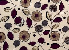 1/2 Yard Quilt Fabric Melrose 60s Retro Floral Fabric Tan Plum   auntiechrisquiltfabric - Craft Supplies on ArtFire
