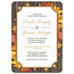 Wedding Invitations - Autumn Orange White Wood Leaves