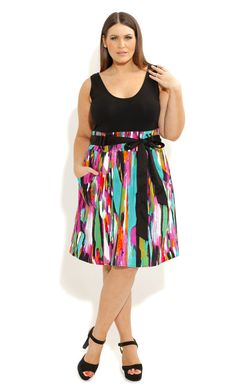City Chic - SO CUTE COLOUR SPLASH DRESS - Women's plus size fashion