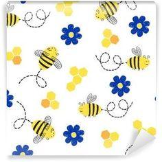 Fototapeta Samoprzylepna Jednolite wzór z cute pszczół i kwiatów.