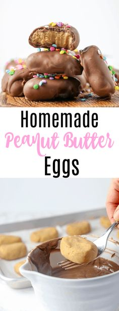 Homemade Reese's peanut butter eggs recipe perfect for those Easter baskets! Easy chocolate covered peanut butter eggs that are a thousand time better than storebought. With step by step photos so they come out perfect for you! via @pinterest.com/bostongirlbakes