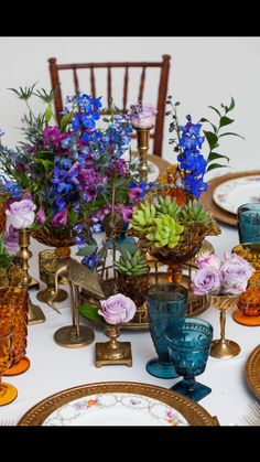 Vintage Brass & Glassware plus Succulents for this wedding head table. @DixiDoesVintage Dixie Does Vintage Rentals in Dallas TX