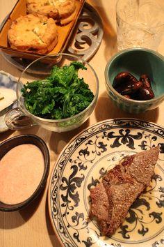 dinner on Sat. 28 Feb. 2015: beef stake, grilled Gammodoki, boiled petits verts with tomato yogurt sauce, braised Scarlet runner beans, pickled radish, sake