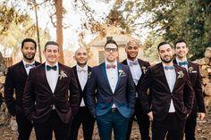 Stylish groomsmen! Love their velvet jackets + the grooms two-tone blazer.