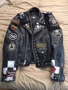 Mens Leather Moyorcycle Jacket Rocker Repro Punk Cafe Racer Club 59  | eBay