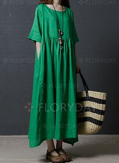 Dresses - $40.99 - Cotton Solid Half Sleeve Maxi Casual Dresses (1955147590)