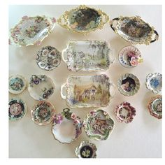 Hand painted mini 1/12 plates by Anne Roder