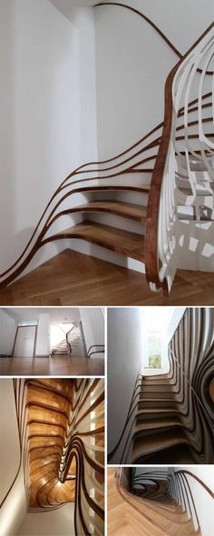 This extreme staircase represents a unique, asymmetrical work of functional art – each is installed in an actual London home, but based on three-dimensional computer modeling and created using laser-cut materials.    Everything about this design by architect Alex Haw of Atmos is warped, bent and twisted, from the treads and risers up through the balusters and banisters